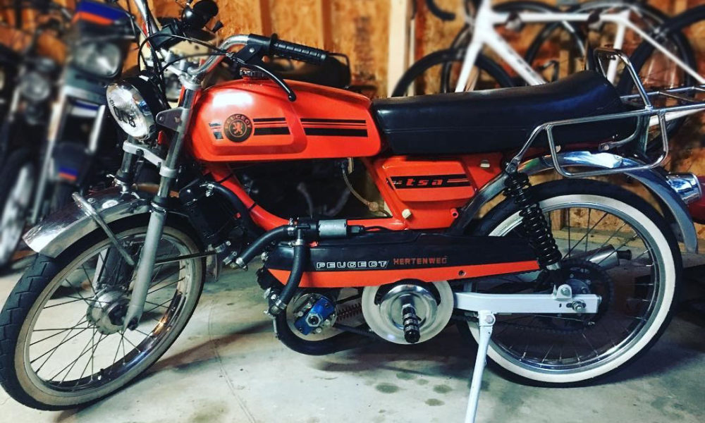matt of the queen city barons modified peugeot tsa is our pick for today's  vintage moped of the day  it's a nicely kept tsa, kept mostly original but  with